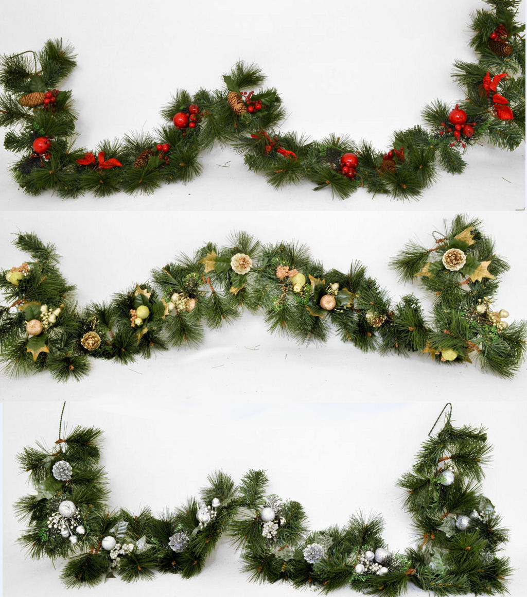 6ft / 180cm Decorated Christmas Garland - Gold , Silver or ...