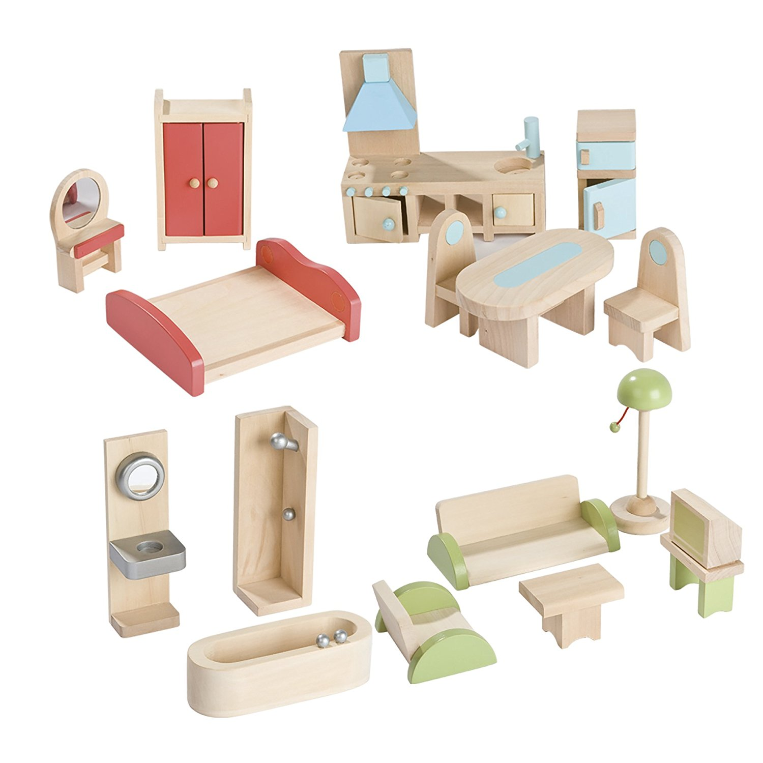 Nursery Products Janod Wooden Dolls House with Furniture - Ramsdens ...