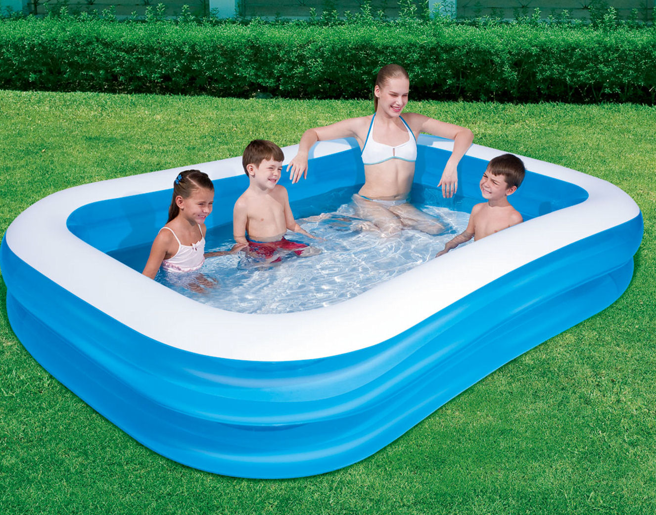 pools bestway blue rectangular family paddling pool 103 x 69 x 20 ramsdens direct. Black Bedroom Furniture Sets. Home Design Ideas
