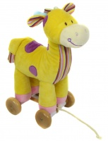Pull Along Soft Giraffe on Wooden Wheels