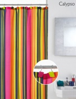 Calypso Stripe Shower Curtain with Decorative Hooks