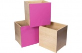 3 x Hygena Houg Children\'s Storage Boxes: Pink. (Toy Box)