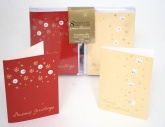 8 Handcrafted Christmas Cards - 2 Designs Gold Snowflakes & Star