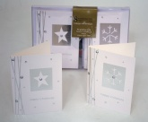 8 Handcrafted Christmas Cards - 2 Designs Silver Snowflakes & St