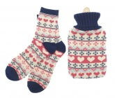 Hot Water Bottle with Knitted Cover and Socks Gift Set ( Fair Is