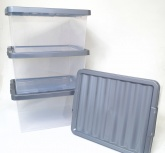27L Stackable Storage Box with Lid ( 4 pack ) . Clear / Platinum