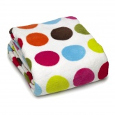 Dotty Rainbow Luxurious Microfleece Throw / Blanket.