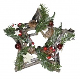 24cm Star Shaped Christmas Wreath. Traditional Nordic Wood Style