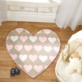 Flair Rugs Nursery Print Heartfelt Shaped Childrens Rug, Brown,