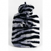 Hot Water Bottle with Luxury Faux Fur Cover - Zebra Print