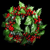 Artifical Christmas Holly Wreath with Berries