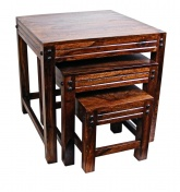 "Indian Sheesham ""Jaipur\"" Solid Wood Nest of 3 Table"