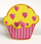 Tidlo Cupcake with Hearts Wooden Coat Peg / Hook