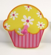 Tidlo Cupcake with Flowers Wooden Coat Peg / Hook