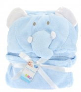 First Steps Hooded Baby Blanket ( 65 x 85 cm ) - Blue