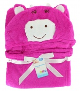 First Steps Hooded Baby Blanket ( 65 x 85 cm ) - Pink