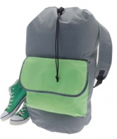 Laundry Backpack Duffel Bag .  ( Green / Grey )