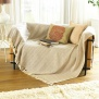 Como 100% Cotton Throw. Biscuit Herringbone 152 x 127 cm