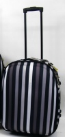 "Striped Wheeled Expander Suitcase 20"" - Black / Grey"